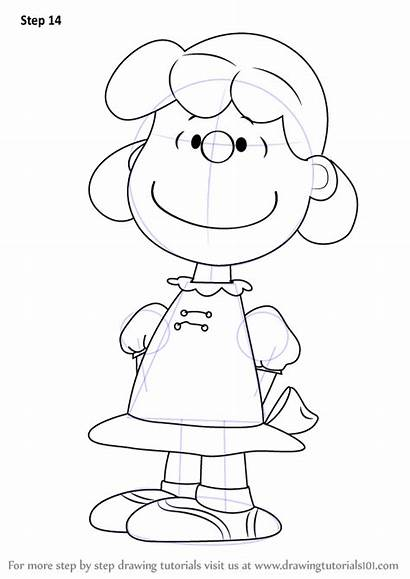 Peanuts Lucy Draw Step Snoopy Coloring Template