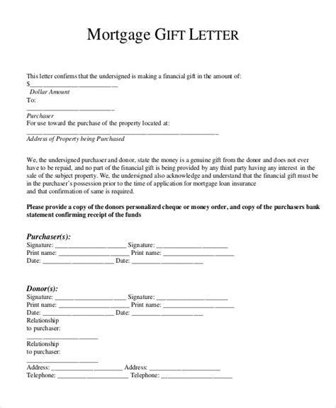 Gift Letter Template Gift Letter For Mortgage Template Business