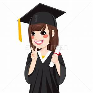 Asian Graduation Girl vector illustration © Kakigori ...