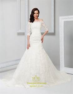 Off shoulder vintage wedding dress with sleeves 2016off for Vintage off white wedding dresses