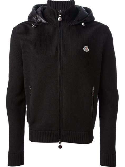 moncler sweater lyst moncler padded zip sweater in black for