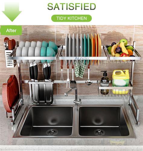 stainless steel silver  sink kitchen tableware storage shelves dish drainer holder hanger