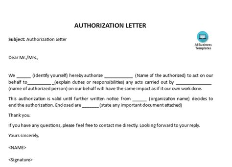 write  authorization letter