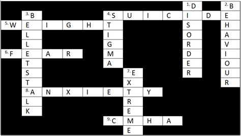 Answers To The Mental Health Crossword