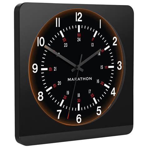 marathon auto light analog wall clock black