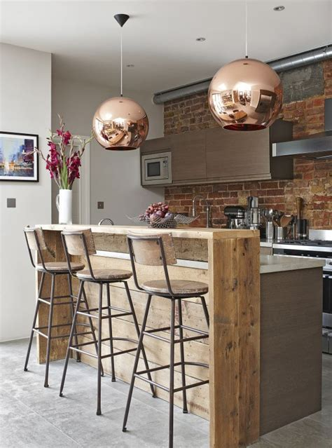Amazing Kitchen Design With Touches Of Gold by Smart Industrial Style Breakfast Bar With Copper Touches