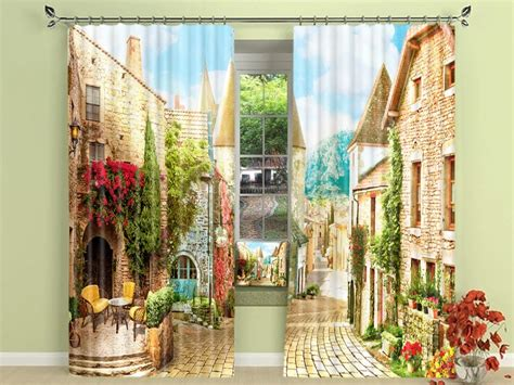 Country Village Blackout Curtain Set Cotton Window Curtains 54 X 78 Shower Curtain Rods For Cheap Darth Vader Where To Buy Soundproof Navy White Stripe Ikea Ceiling Warehouse Pvc Strip