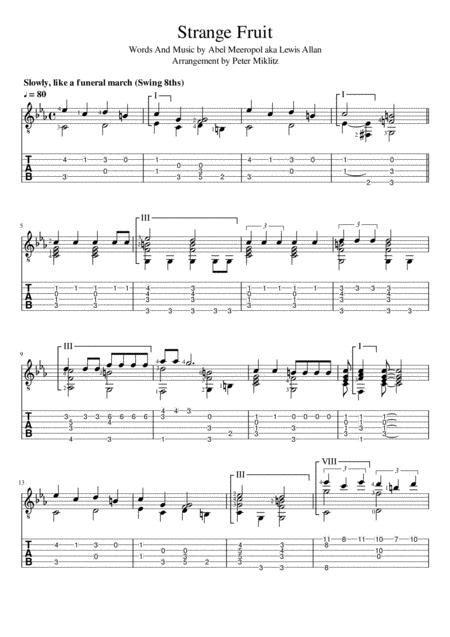 Strange Fruit (Standard Notation And TAB) By Billie