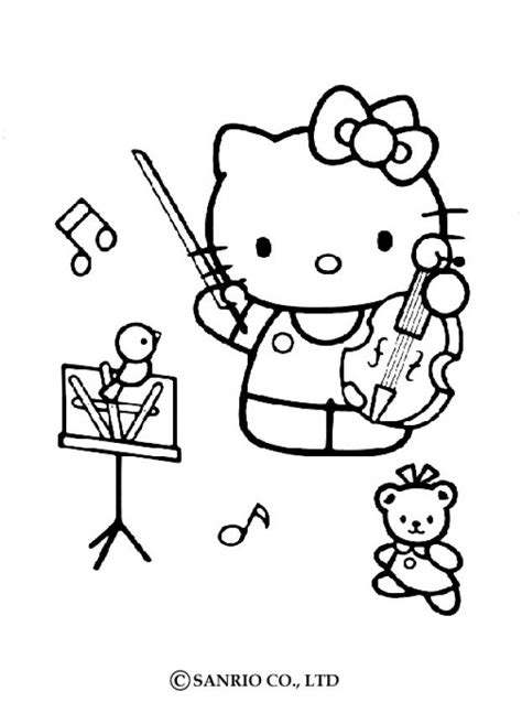 kitty playing  violin coloring pages hellokidscom