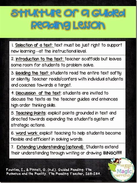 The Structure Of A Guided Reading Lesson  Literacy Guided Reading  Pinterest Words