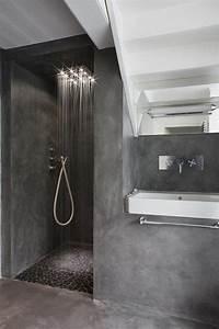 Salle De Bain En L : id e relooking cuisine faire une douche l italienne salle de bain en b ton cir gris fonc ~ Melissatoandfro.com Idées de Décoration