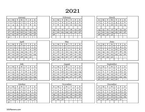 printable  yearly calendar   glance