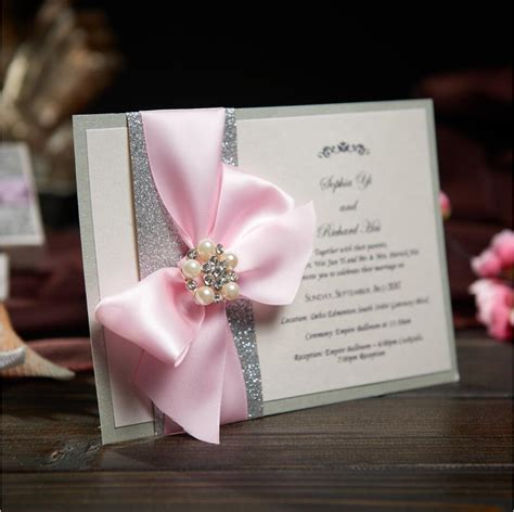 rustic wedding invitations card with ribbon bow and