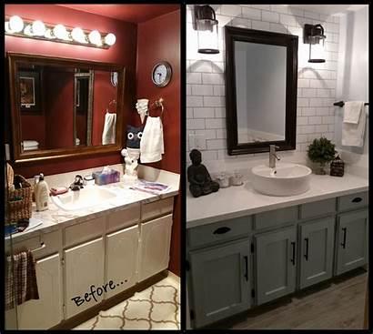 Farmhouse Bathroom Grey Tile Subway Wood Renovation