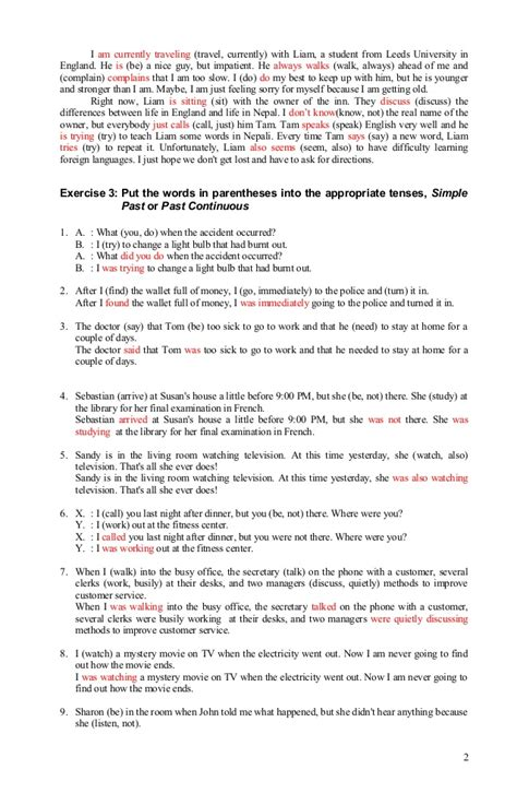 english 2 released form answer key verb tense exercises answer 080912