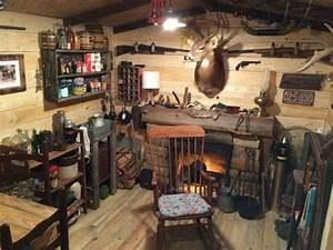 Man Transforms Basement Room into Rustic Cabin Man Cave