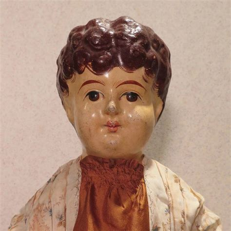 antique french papier mache jointed carton doll  inches