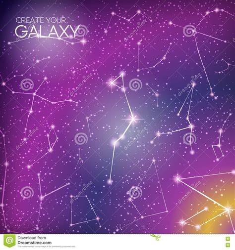 Abstract Galaxy Background With Star Constellations Milky