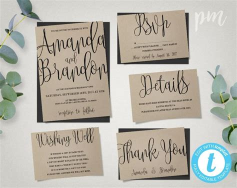 Wedding Invitation Template Suite, Calligraphy Script Printable Invitation, Instant Download Diy Diy Fabric Flowers No Sew Door Draft Stopper Paint Medium Wax Strips Without Lemon Juice Closet Design Tool Wooden Christmas Tree Star Wall Painting Tips