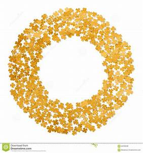 Circle Gold Frame With Clover Leaves. Stock Vector - Image ...