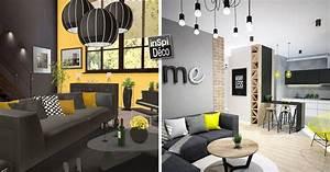 Décoration Salon Jaune Moutarde : d co jaune et noir dans le salon 20 id es pour vous inspirer ~ Melissatoandfro.com Idées de Décoration
