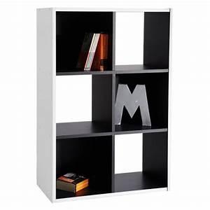 Meuble De Rangement Case : biblioth que meuble rangement 6 cases noir et blanc demeyere ~ Teatrodelosmanantiales.com Idées de Décoration