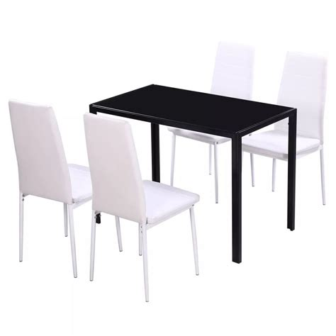 Black And White Dining Table Set by Vidaxl Five Dining Table Set Black And White