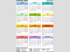 2019 Calendar Uk printable yearly calendar
