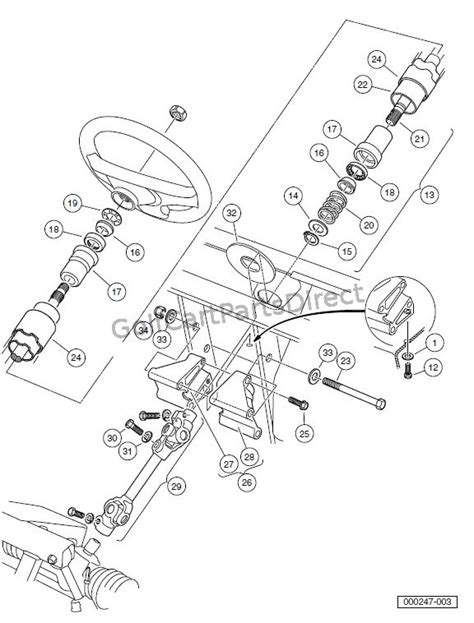 Club Car Xrt Part Diagram by Steering Column Turf Carryall 2 Xrt And Turf Carryall