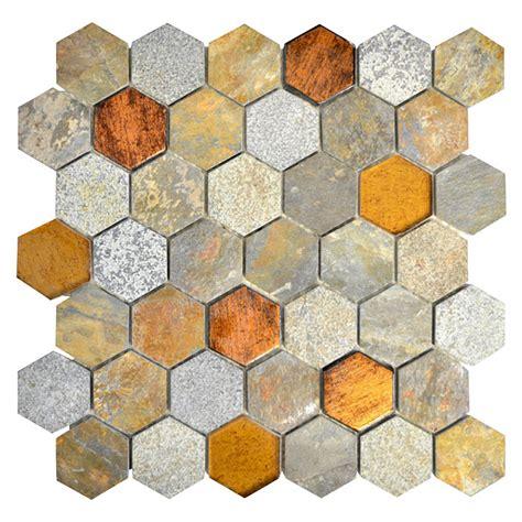 mosaikfliese hexagon hxn     cm kupferbraunbeige matt  glasmosaik