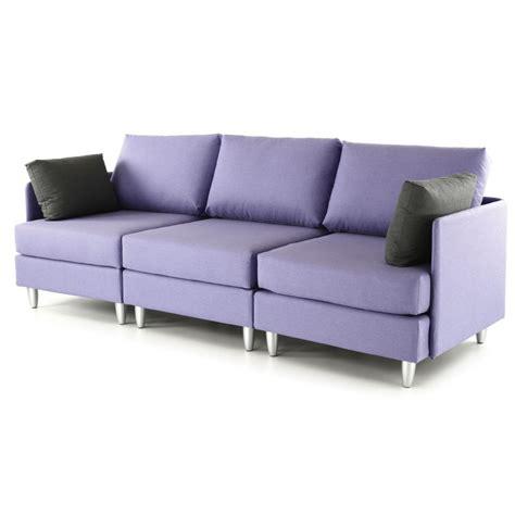 canape violet canapé 3 places violet coussins gris leggos