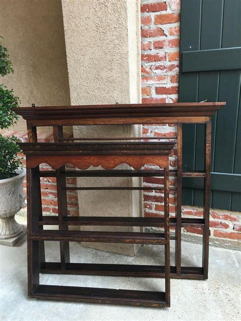 antique english carved tiger oak plate platter wall rack display shelf kitchen  sale  stdibs