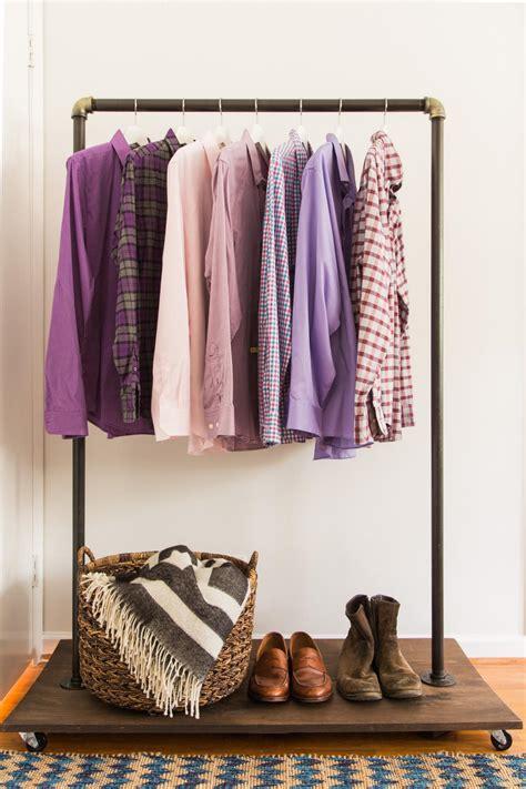 diy clothing rack diy clothing rack how to make a mobile clothing rack hgtv