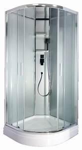 cabine de douche en 1 4 de cercle avec porte coulissante With porte de douche coulissante avec vmc salle de bain pile