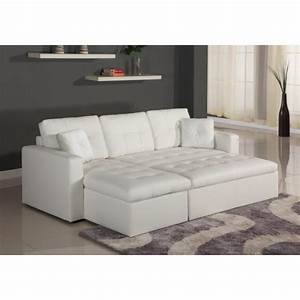 Canape d39angle lit convertible girly blanc en simili cuir for Tapis persan avec canapé 3 places lit