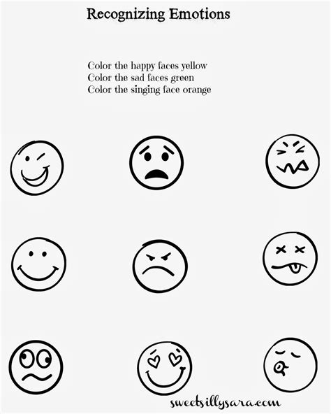 sweet silly sara recognizing emotions worksheet special