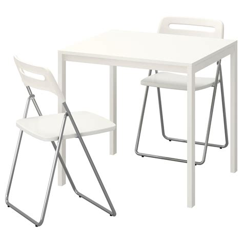 white folding dining table and chairs nisse melltorp table and 2 folding chairs white white 75