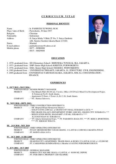 curriculum vitae panhudi yuwono august 16