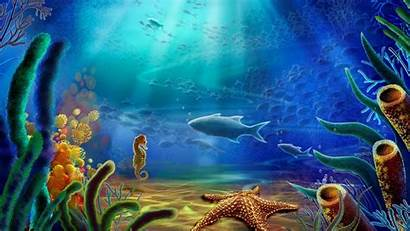 Underwater Ocean Cartoon Vector Scene Under Background