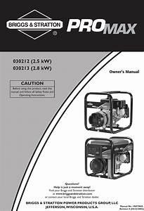 Briggs And Stratton 30212 Users Manual 030212 U0026 39 213 0en