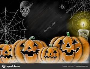 Citrouille D Halloween Dessin : dessin de toile d araign e araign e citrouille d halloween style tableau noir cr ne et bougie ~ Nature-et-papiers.com Idées de Décoration