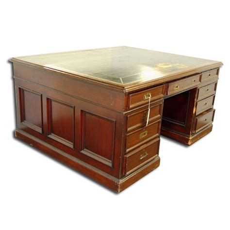 partners desk for sale antique english partners desk with black leather top for