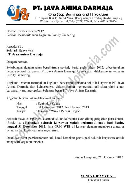 Cara Jadi Notulen by Surat Pemberitahuan Contoh Surat Indonesia