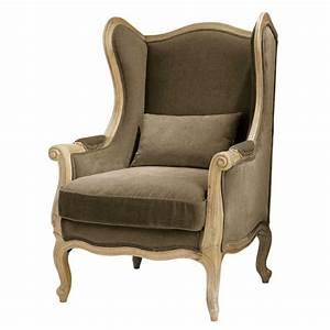 fauteuil bergere en coton taupe manoir maisons du monde With fauteuil maisons du monde