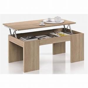table basse plateau relevable coloris ch ne canadien dim 100 x 50 x 42 cm achat vente