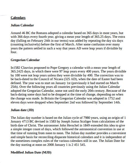 sample julian calendar templates