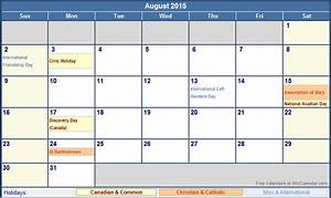 august 2015 canada calendar with holidays for printing With 2015 calendar template with canadian holidays