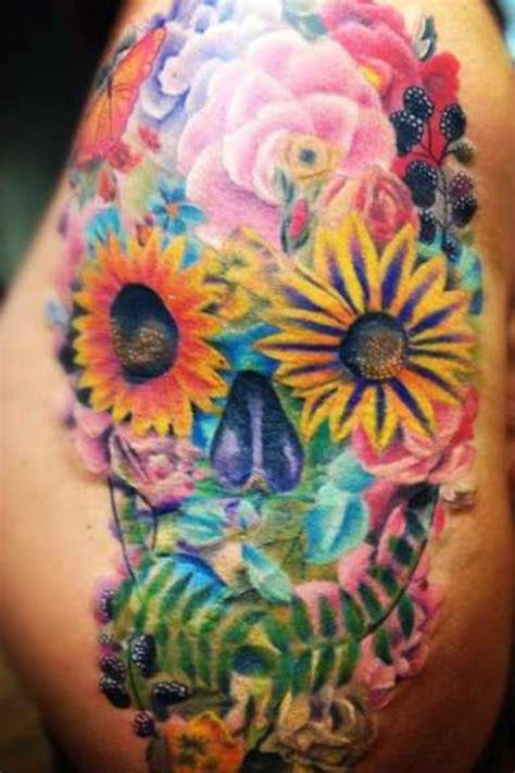 floral sugar skull tattoo   fred  tattooempire