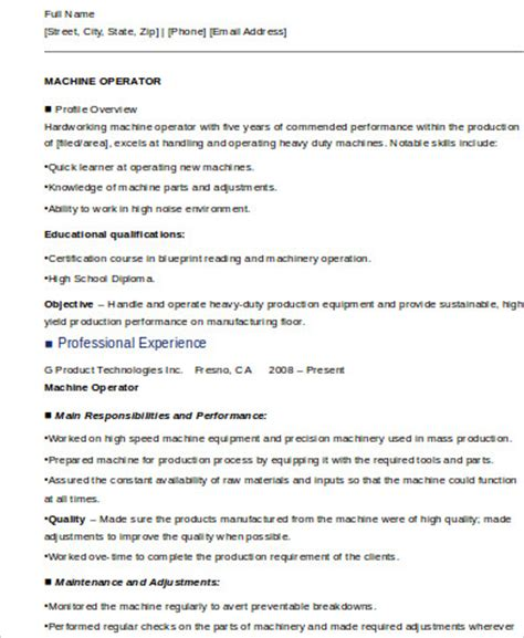 sle resume for a sewing machine operator