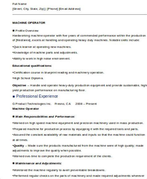 sle machine operator resume 6 exles in word pdf